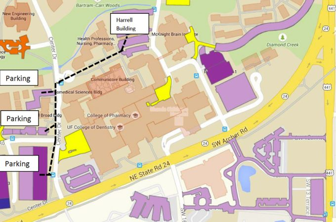 Map of UF parking garages near MOCA