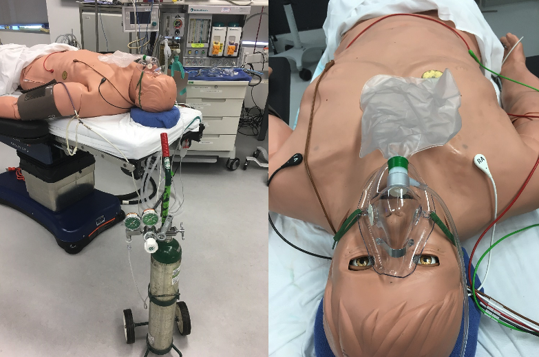 Simulator set up with oxygen tank and mask from 2 angles